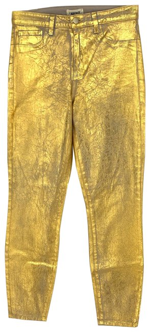 Item - Gold Coated Margot High Rise Crackle Metallic Skinny Jeans Size 29 (6, M)