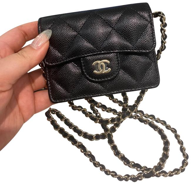 Item - Black on Chain Crossbody Classic Card Holder Pouch Wallet