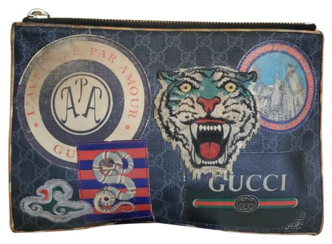 Item - Supreme Night Courrier Embroidered Zip Pouch Black Leather and Gg Leather Wristlet
