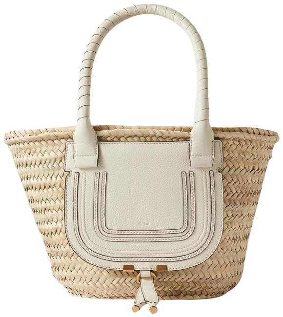 Item - Marcie Textured Leather-trimmed White Raffia Tote
