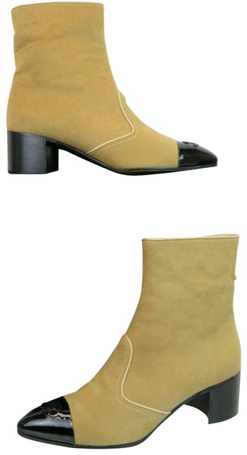 Item - Beige G34091 Pony Hair Patent Leather Cap Toe Logo Zip Ankle Boots/Booties Size EU 41.5 (Approx. US 11.5) Regular (M, B)