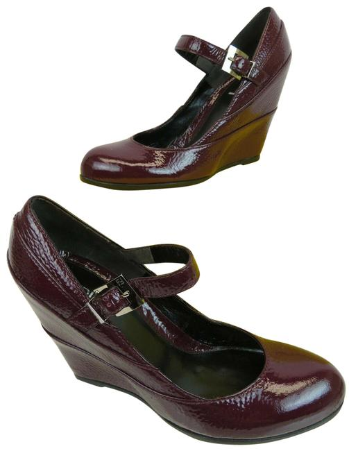 Item - Red Wine Cracked Leather Mary Jane Buckle Ff Logo Pumps / 8.5 Wedges Size EU 38.5 (Approx. US 8.5) Regular (M, B)