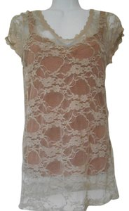 Bozzolo Two In One Lot Two Shirts Shirt Lace 2 For 1 Earthy Tan Burnt Rust Rusty Stretch Lace Lace Cami Layers Shelf Bra 8 Top Taupe