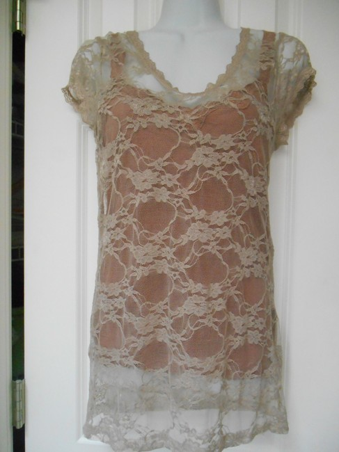 Bozzolo Two In One Lot Two Tops Shirts Shirt Lace 2 For 1 Earthy Burnt Rust Rusty Stretch Lace Lace Cami Layers Shelf Bra Bra Top Taupe