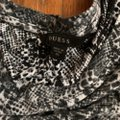 Guess Animal Print Shirt Open Shoulder Top Black and White Image 2