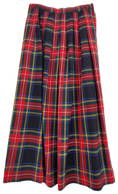 Item - Red Lands Ends Plaid Pleated A-line Wool Skirt Size 8 (M, 29, 30)