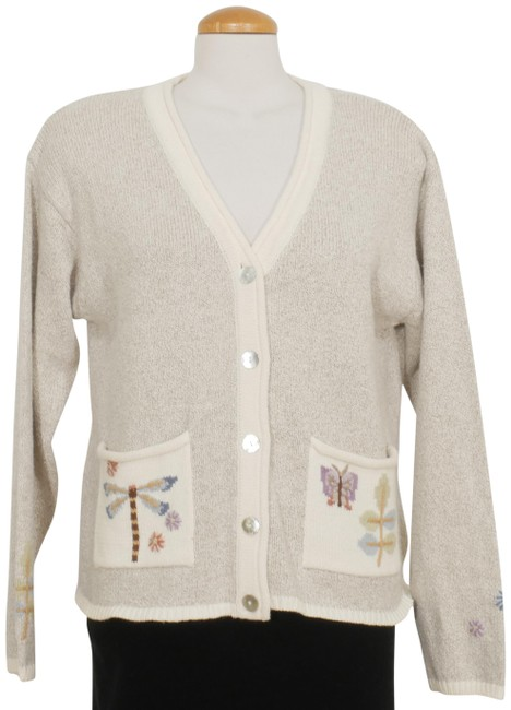 Item - Beige Linen Cotton Butterfly Dragonfly Floral Cardigan Size 14 (L)