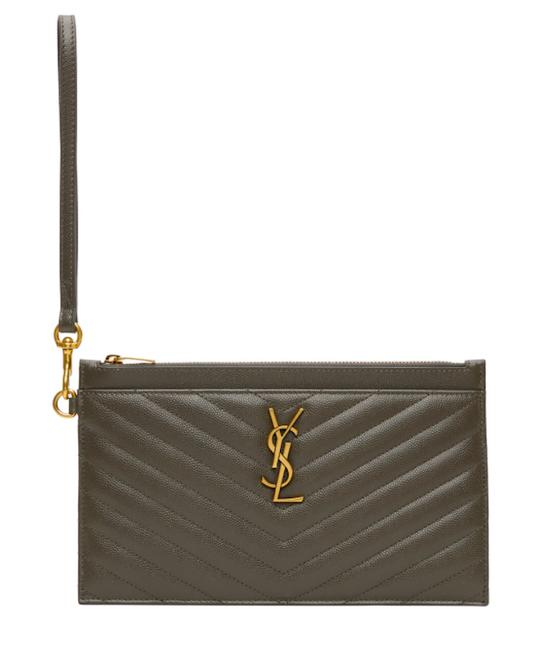 Item - Ysl Quilted Monogram Zip Pouch Khaki Green Leather Wristlet