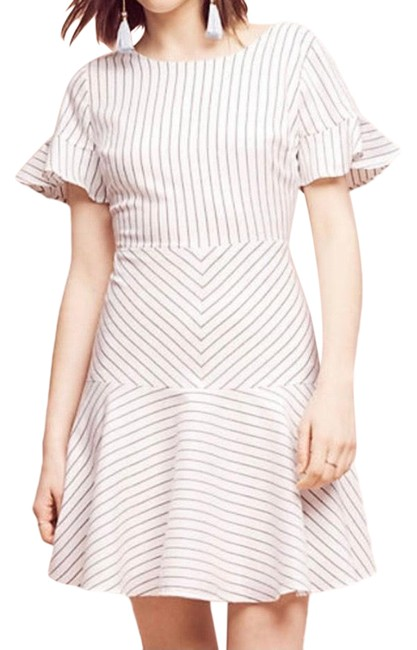 Item - White Mod Pinstripe Fit and Flare Mid-length Work/Office Dress Size 10 (M)