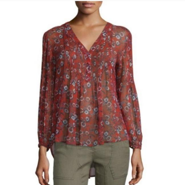 Item - Red Pond Pintucked Henley In Rustic Floral Blouse Size 2 (XS)