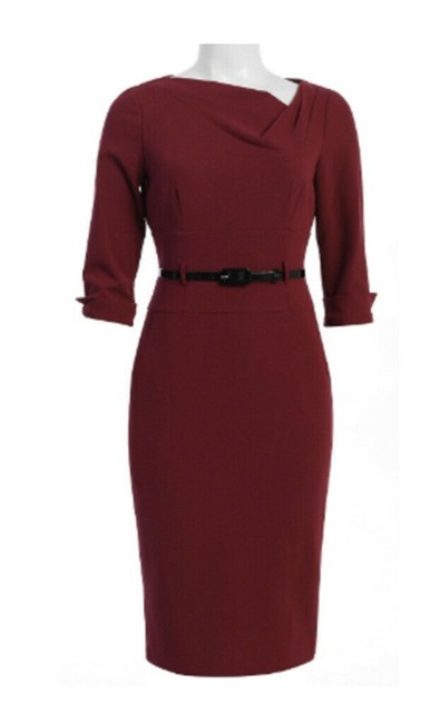 Item - Mulberry Asymmetrical Crepe Mid-length Work/Office Dress Size 4 (S)