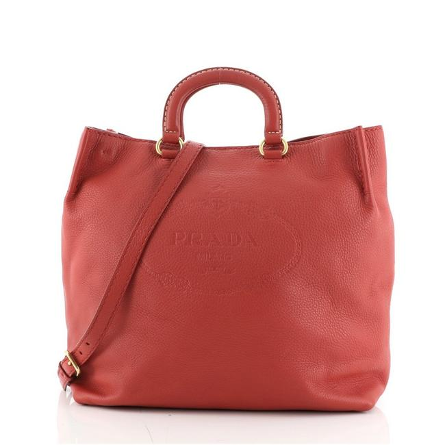 Item - Vitello Daino Open Embossed Logo Convertible Large Red Leather Tote