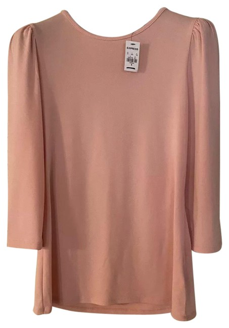 Item - Pink Solid Puff Sleeve Blouse Size 8 (M)