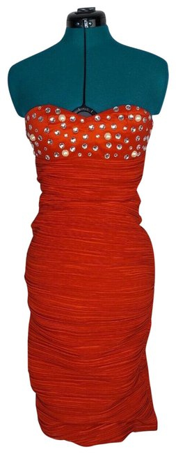 Item - Red And Ruched Pearl Rhinestone Embellished Short Cocktail Dress Size 4 (S)