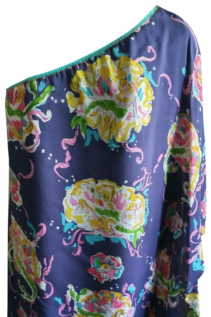 Item - Blue Pink Green Yellow Scarf Mermaid Design Short Night Out Dress Size 6 (S)