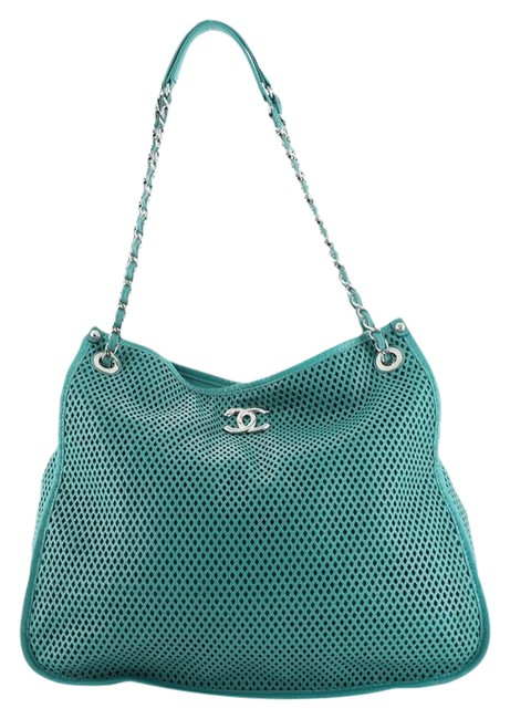 Item - Up In The Air Perforated Green Leather Tote