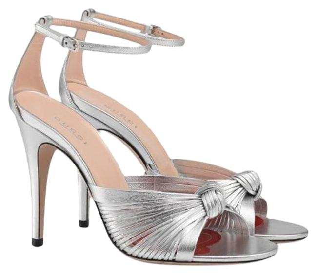 Item - Silver Crawford Metallic Leather Ankle Strap Knot Sandals Size EU 39.5 (Approx. US 9.5) Regular (M, B)