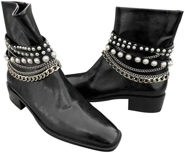 Item - Black Leather Pearl Chain Biker Ankle Boots/Booties Size EU 41 (Approx. US 11) Regular (M, B)