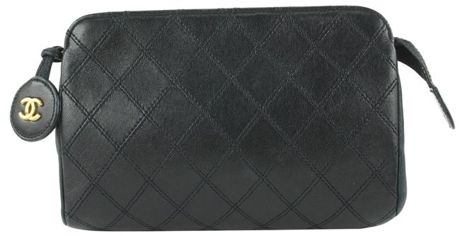 Item - Black Pouch Clutch Quilted Lambskin Leather Make Up 649cas617 Cosmetic Bag