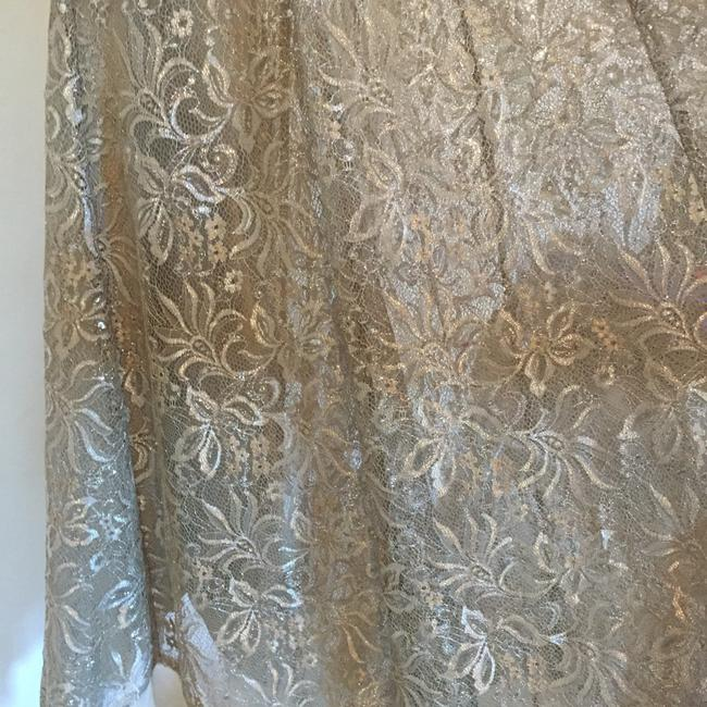 BCBGMAXAZRIA Taupe/Silver Lace Gown Formal Dress Size 6 (S) BCBGMAXAZRIA Taupe/Silver Lace Gown Formal Dress Size 6 (S) Image 6