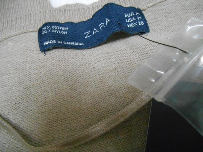 Zara Cotton Blend Cardigan Summer Tiny Buttons Light Brown Taupe Small Buttons Cotton/Nylon Knit New New With Tags 8 10 9 Sweater