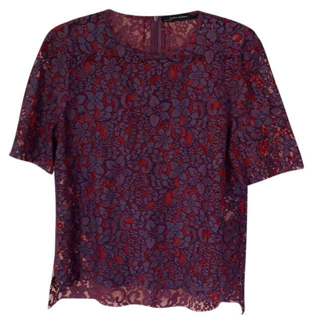 Item - Purple Red Floral Blouse Size 6 (S)