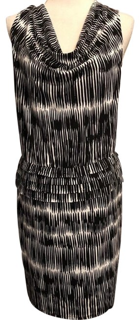 Item - Black and White Cowl Neck Mid-length Work/Office Dress Size 12 (L)