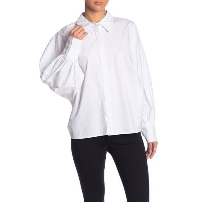 Item - White Grey Lab Oversized Long Blouson Sleeve Shirt Small Button-down Top Size 6 (S)