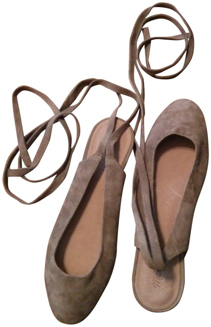 Item - Stone Taupe Suede Ankle Wrap Ballet Flats Size US 9 Regular (M, B)
