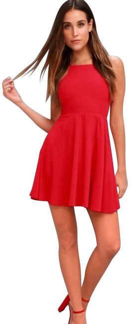 Item - Red Call To Charms Halter Skater Mini Cocktail Dress Size 8 (M)