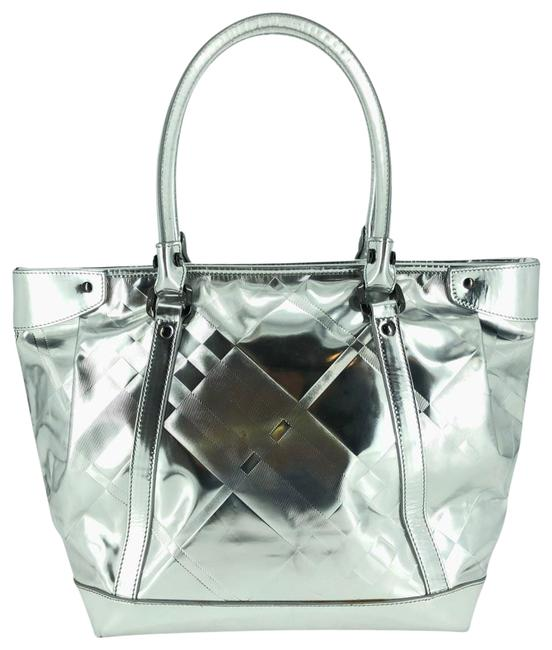Item - Bag Silver Metallic Beat Check Ember #35795 Beige Patent Leather Tote
