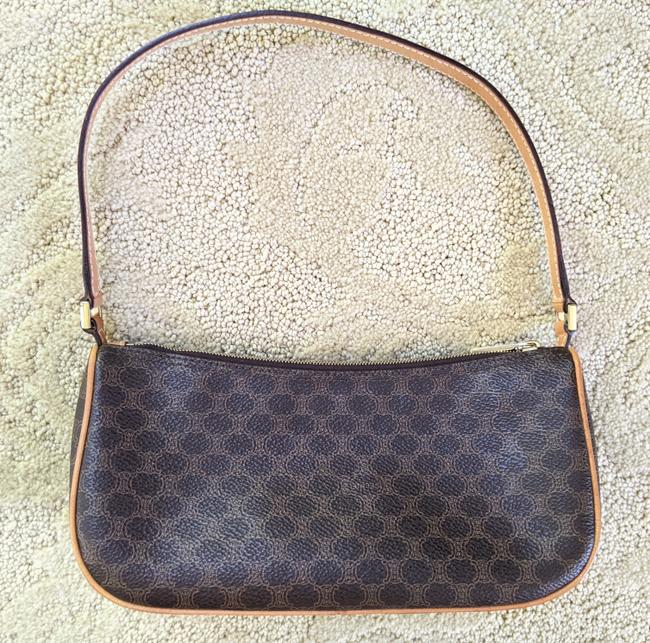 Item - Macadam Pochette Canvas Brown and Tan Leather Clutch