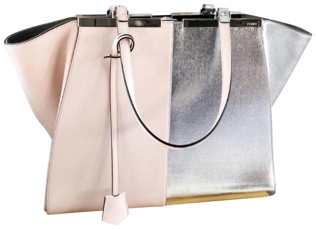 Item - Limited Edition Rare Bicoloe Tres Jours Baby Pink and Silver Calfskin Leather Tote