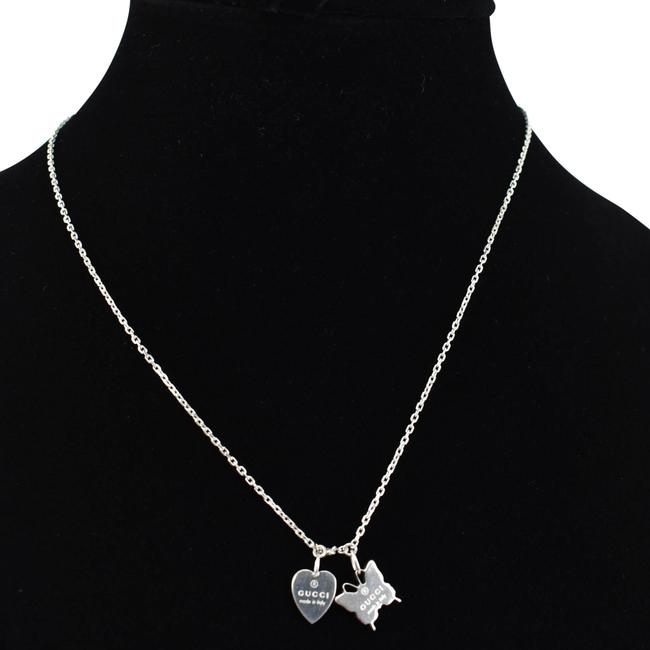 Item - Sterling Silver Heart Tag & Butterfly Logo (Oo) Necklace