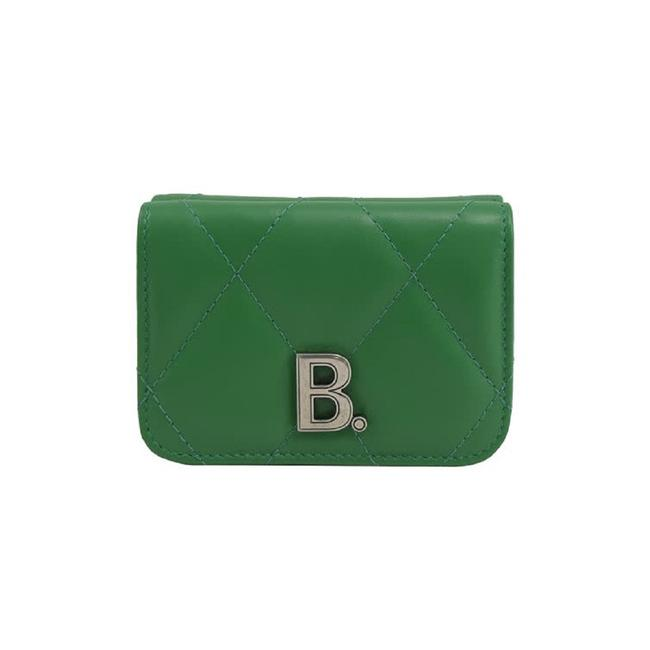 Item - Green Touch Leaf Nappa Leather Quiltedtrifold 617781 Wallet