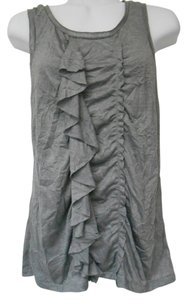 J.Crew Ruffle Asymmetrical Medium 8 10 Sleeveless Dressy M Med Med Medium T Shirt Gray with tad of metallic silver