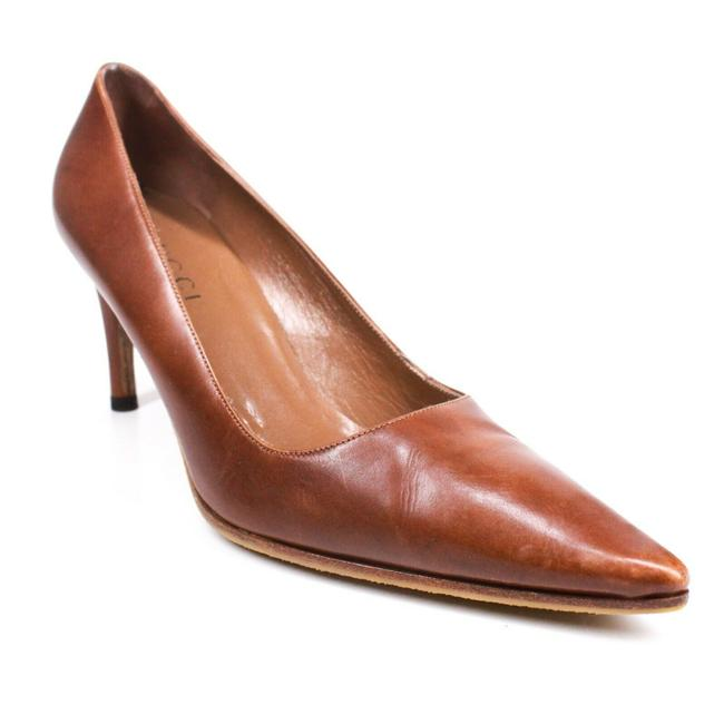 Item - Brown Pointed Toe Heels Leather B Pumps Size US 7.5 Regular (M, B)