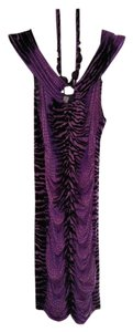 Purple & Black Zebra Maxi Dress by Boutique Beaded Halter Maxi