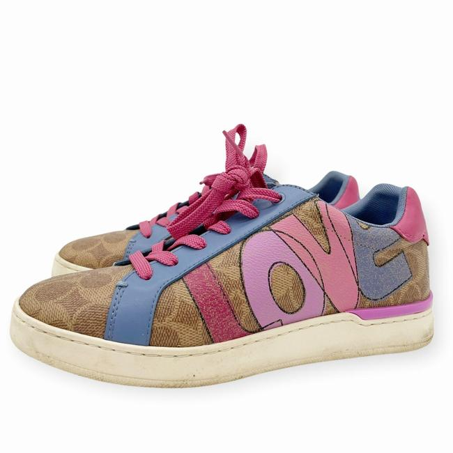 Coach Brown Pink Womens Lowline Low Top Love Leather Sneakers Size US 8 Regular (M, B) Coach Brown Pink Womens Lowline Low Top Love Leather Sneakers Size US 8 Regular (M, B) Image 2