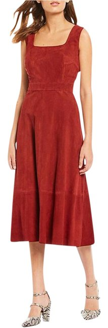 Item - Orange Red Norah Square Neck Genuine Suede A-line Mid-length Cocktail Dress Size 2 (XS)