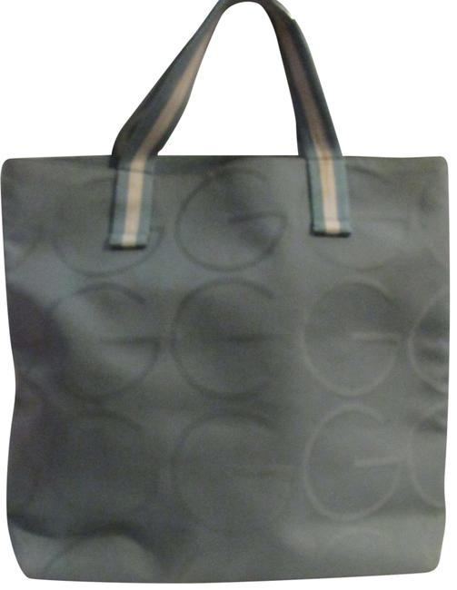 Gucci Bag Vintage Purses/Designer Purses Teal Xl G Logo/White Leather and Canvas Tote Gucci Bag Vintage Purses/Designer Purses Teal Xl G Logo/White Leather and Canvas Tote Image 1