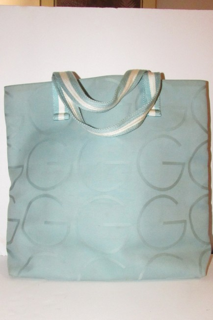 Gucci Bag Vintage Purses/Designer Purses Teal Xl G Logo/White Leather and Canvas Tote Gucci Bag Vintage Purses/Designer Purses Teal Xl G Logo/White Leather and Canvas Tote Image 5