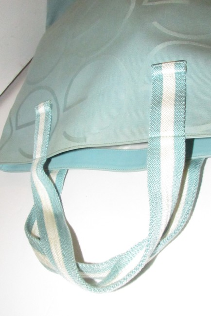 Gucci Bag Vintage Purses/Designer Purses Teal Xl G Logo/White Leather and Canvas Tote Gucci Bag Vintage Purses/Designer Purses Teal Xl G Logo/White Leather and Canvas Tote Image 8