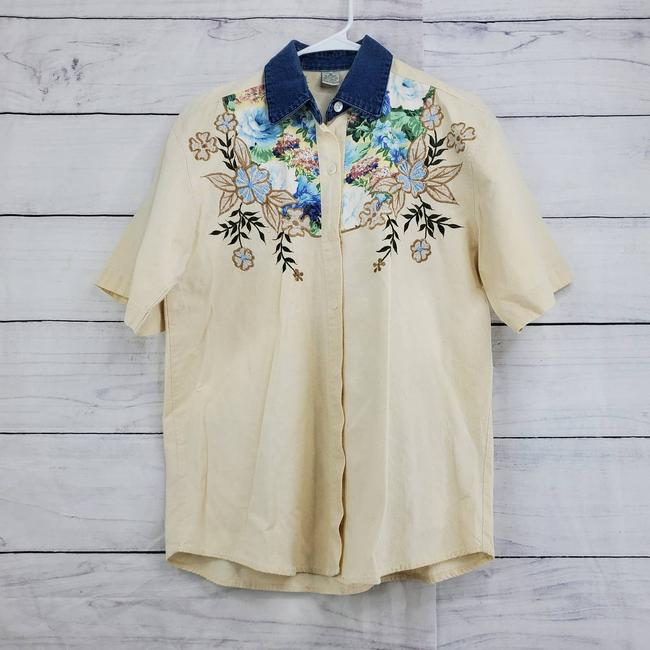 Item - Cream Floral Embroidered Button Up Short Sleeve Shirt Button-down Top Size 4 (S)