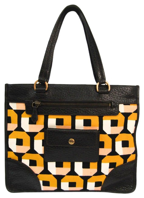 Item - Bag Women's Black / Yellow Leather / Canvas Tote