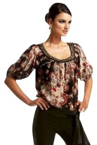 Bebe Studded Top Paisley in Brown and Red
