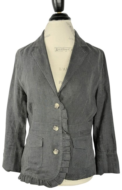 Item - Gray Fitted Linen Blazer Size 8 (M)