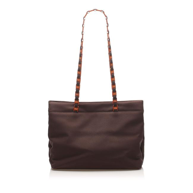 Item - Bag Tiered Grosgrain Chain Brown Fabric Tote