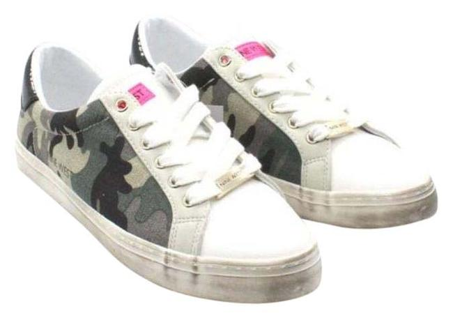 Item - White Green Casual Lace-up Sneakers Women's Flats Size US 7 Regular (M, B)