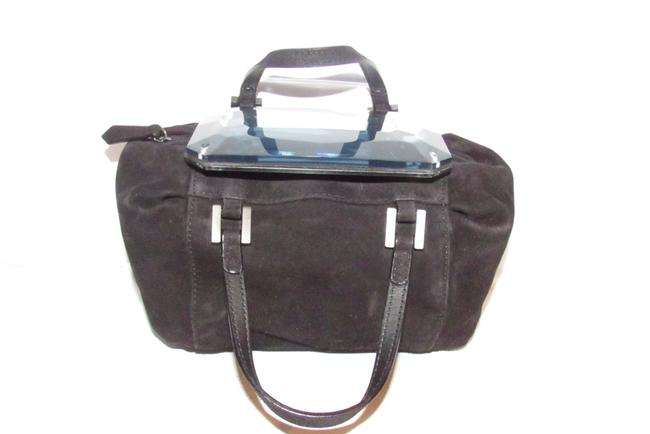 Item - W Be Jewel Style Faceted Resin/Mirrored Black Suede/Silver Resin Top and Satchel